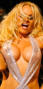 Pamela Anderson in skimpy dress that shows breasts and stiff nipples