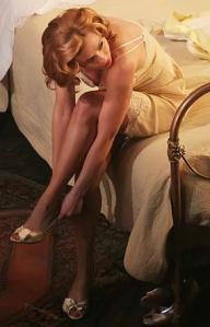 Scarlett showing off her legs in lace negligee