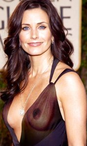 Courtney Cox - big nipples flashed in see-through top. Cougar Town boob flash