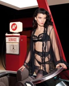 Crystal Renn in sexy black Agent Provocateur lingerie for On The Road campaign shot by Olivier Zahm