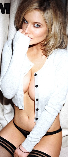Helen Flanagan 2013 Calendar FHM no bra open white jumper