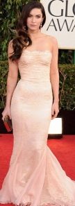 Megan Fox in nude Dolce and Gabbana gown at 2013 Golden Globes