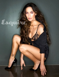Megan Fox in see-through black bra and knickers in Esquire magazine Feb 2013 issue