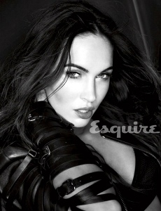 Megan Fox looking super hot pouting in Esquire magazine black and white photo in leather outfit