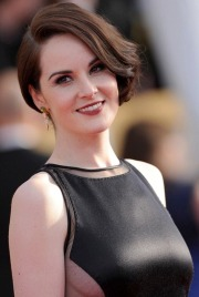 Michelle Dockery, Downton Abbey's Lady Mary Crawley shows sideboob and nipples show through satin dress