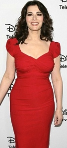 Nigella Lawson new slimmed down hourglass figure in tight red dress promoting new US cookery show Taste