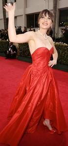 Zooey Deschanel in red Oscar de la Renta gown at 2013 Golden Globes