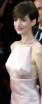 Anne Hathaway shows stiff nipples through sheer Prada dress at 2013 Oscars