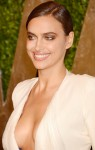 Irina Shayk shows most of her boobs in very cleavage revealing dress