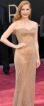 Jessica Chastain in see-through style nude Armani Prive gown at 2013 Oscars