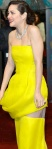 Marion Cotillard in canary yellow dress with nude panels showing her legs. Rust and Bone actress.