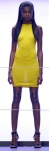 Rihanna For River Island yellow dress - tight and clingy, no bra and legs on show