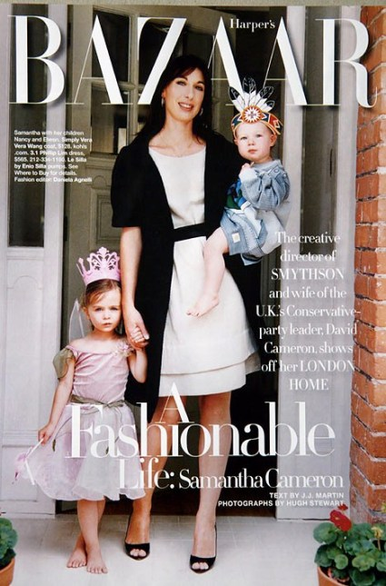 Samantha Cameron on Harper's Bazaar cover. Prime Minister's wife.