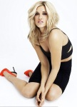 Ashley Roberts in sexy black outfir and red heels