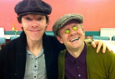 Benedict Cumberbatch and Martin Freeman at rehearsal read through for Series 3 of Sherlock