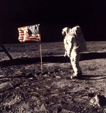 Buzz Adrin on the surface of the Moon in July 1969