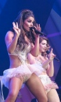 Cheryl Cole and Nicola Roberts on stage in revealing little tutu