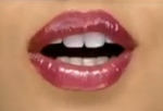 Close up of Cheryl Cole's mouth - mouth open and wearing lipgloss