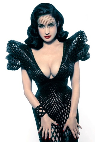 Curvy 40-year old Dita Von Teese shows off cleavage and figure in world's first 3D printed dress