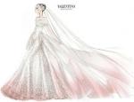 Designer sketch of Anne Hathaway's Valentino wedding dress