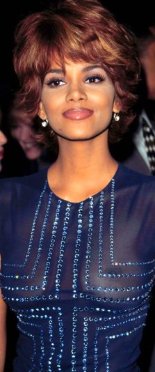 Halle Berry pert breasts showing under see-through dress