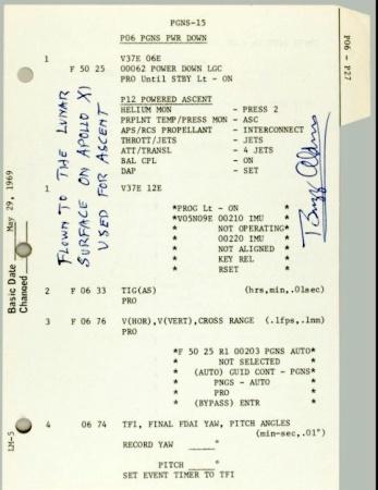 Instruction sheet from Apollo 11