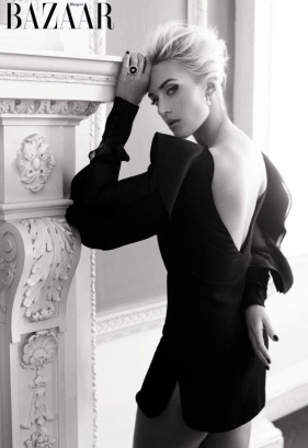 Kate Winslet looks sultry in short black dress showing thighs. Harper's Bazaar 2013