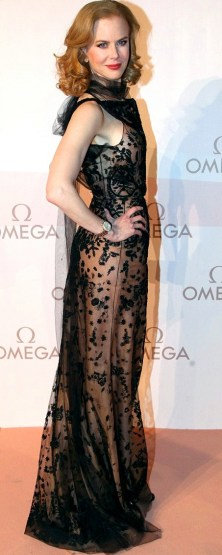 Nicole Kidman in see-through black gown