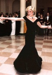 Princess Diana in black Victor Edelstein dress dancing with John Travolta at White House in 1985