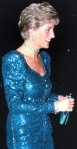 Princess Diana in blue Catherine Walker sequinned dress worn on Austrian state visit in 1989.