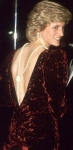 Princess Diana in Bruce Oldfield burgundy velvet dress at Back to the Future premiere 1985