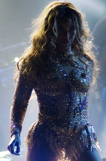 Beyonce in gold see-through nipple outfit