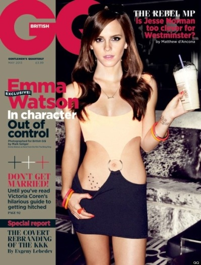 Emma Watson in GQ cover photo wearing Pretty Woman hooker dress