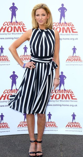 Sarah Harding looking hot in monochrome dress. Posing for new role as ambassador for wounded military servicemen.