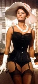 Sophia Loren in basque and stockings