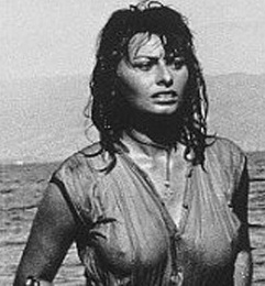 Sophia Loren nipples showing in wet top