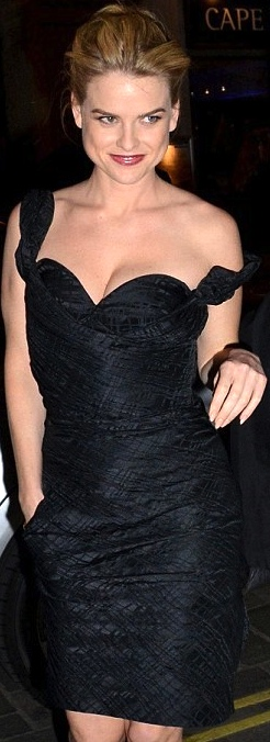 Alice Eve - looking sexy in low cut  black dress revealing cleavage