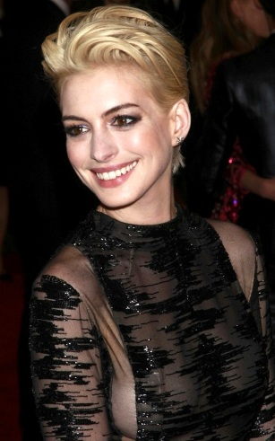 Anne Hathaway shows nipples in see-through black dress at Met Ball 2013.