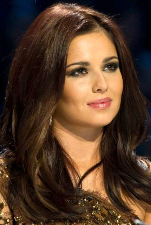Cheryl Cole - long brunette hairstyle voted top trender 2013