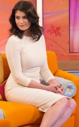 Gemma Arterton shows curvy hot body as she wears white figure-hugging dress on Lorraine with Helen Fospero.