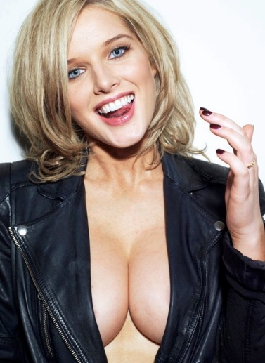Helen Flanagan - big cleavage and big boobs revealed in leather jacket with no bra. Nobra, no underwear photo. FHM sexiest British woman 2013.