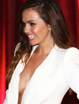 Jennifer Metcalfe reveals breasts under open white jacket. Hollyoaks actress playing Mercedes nude under top.