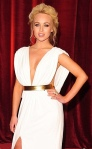 Jorgie Porter showing cleavage in Grecian goddess style gown