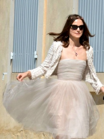 Keira Knightley in Chanel wedding dress with matching jacket and nude flats