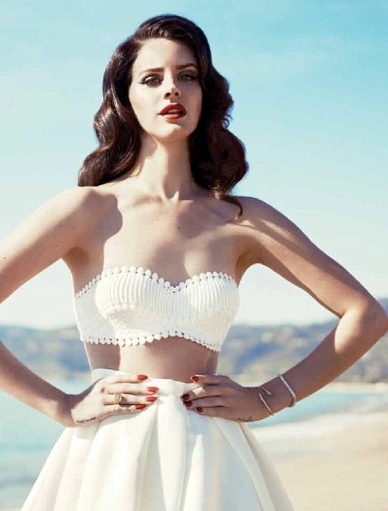Lana Del Rey in 50's style white crochet top in Fashion magazine