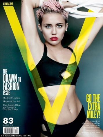 Miley Cyrus on V Magazine cover in black crop top and knickers