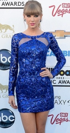 Taylor Swift in sparkly blue dress at Billboard Awards