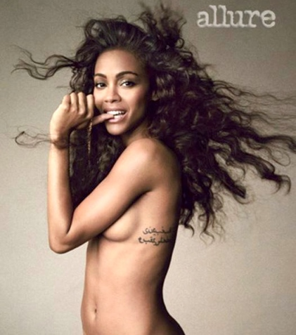Zoe Saldana topless for Allure. Hints at bisexuality in article