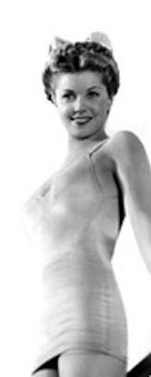 Esther Williams shows off her great figure in bathing suit