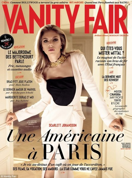 First Issue of French Vanity Fair with Scarlett Johansson on the cover in stylish creme and black outfit